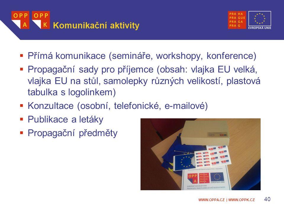 WWW.OPPA.CZ | WWW.OPPK.CZ 40 Komunikační aktivity  Přímá komunikace (semináře, workshopy, konference)  Propagační sady pro příjemce (obsah: vlajka EU velká, vlajka EU na stůl, samolepky různých velikostí, plastová tabulka s logolinkem)  Konzultace (osobní, telefonické, e-mailové)  Publikace a letáky  Propagační předměty
