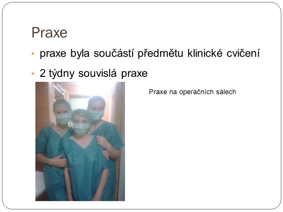 Praxe praxe byla součástí předmětu klinické cvičení 2 týdny souvislá praxe Praxe na operačních sálech