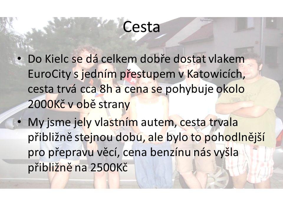 Cesta Do Kielc se dá celkem dobře dostat vlakem EuroCity s jedním přestupem v Katowicích, cesta trvá cca 8h a cena se pohybuje okolo 2000Kč v obě stra