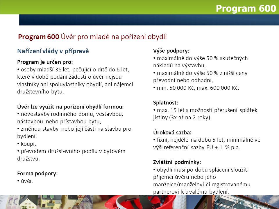 Program 600 Výše podpory: maximálně do výše 50 % skutečných nákladů na výstavbu, maximálně do výše 50 % z nižší ceny převodní nebo odhadní, min. 50 00