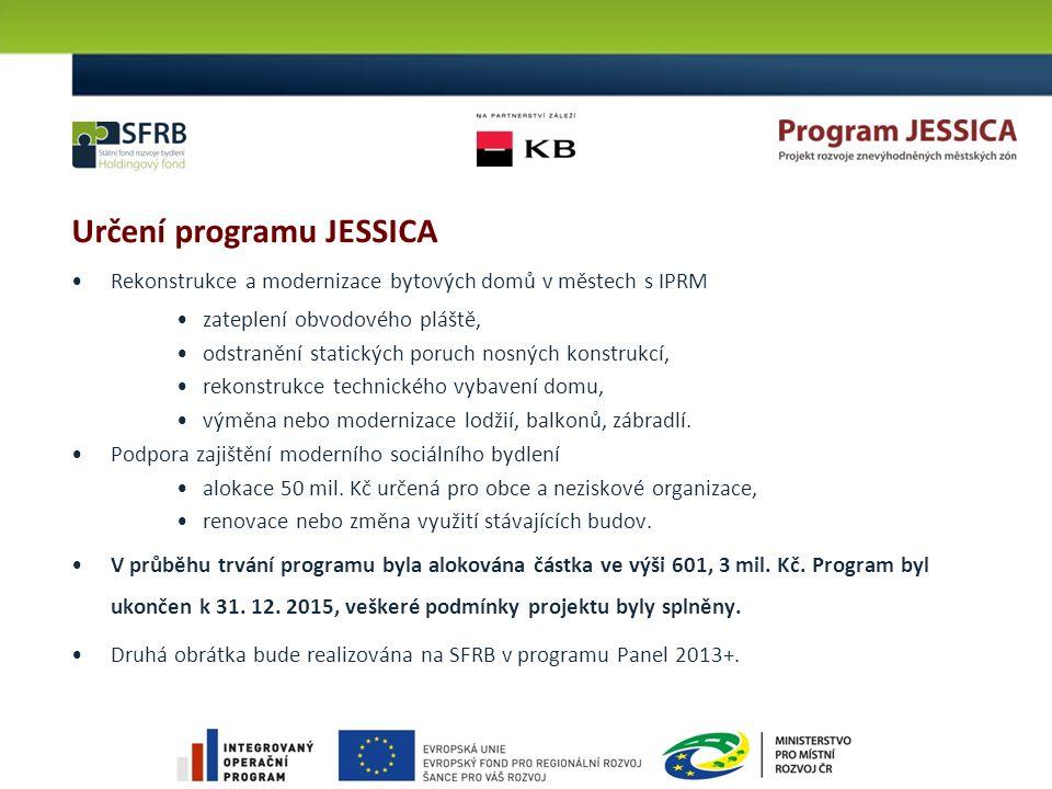 Určení programu JESSICA Rekonstrukce a modernizace bytových domů v městech s IPRM zateplení obvodového pláště, odstranění statických poruch nosných ko