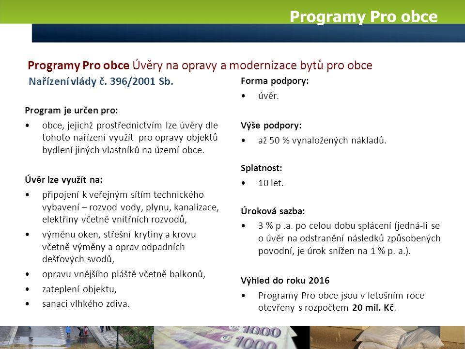 Programy Pro obce Program je určen pro: obce, jejichž prostřednictvím lze úvěry dle tohoto nařízení využít pro opravy objektů bydlení jiných vlastníků na území obce.
