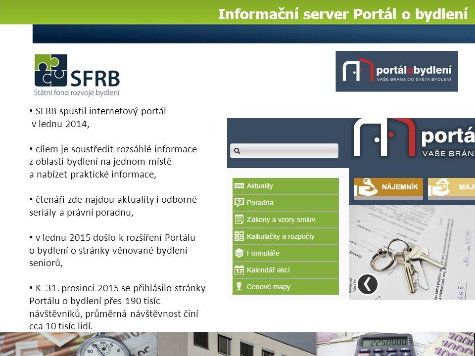 SFRB spustil internetový portál v lednu 2014, cílem je soustředit rozsáhlé informace z oblasti bydlení na jednom místě a nabízet praktické informace, čtenáři zde najdou aktuality i odborné seriály a právní poradnu, v lednu 2015 došlo k rozšíření Portálu o bydlení o stránky věnované bydlení seniorů, K 31.