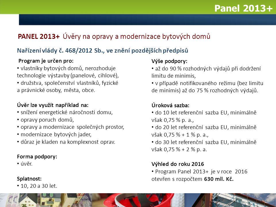 Panel 2013+ Výše podpory: až do 90 % rozhodných výdajů při dodržení limitu de minimis, v případě notifikovaného režimu (bez limitu de minimis) až do 75 % rozhodných výdajů.