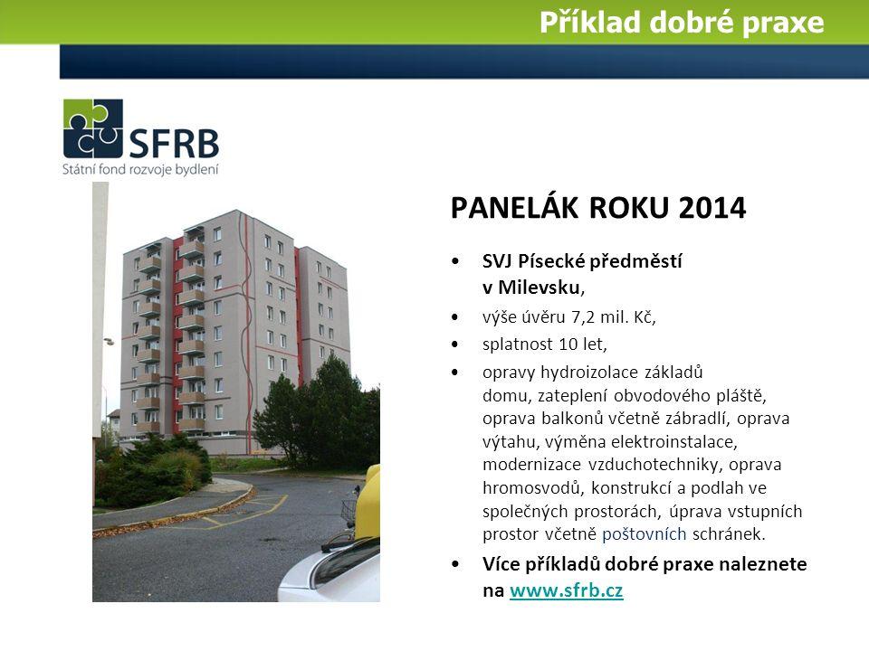 PANELÁK ROKU 2014 SVJ Písecké předměstí v Milevsku, výše úvěru 7,2 mil.