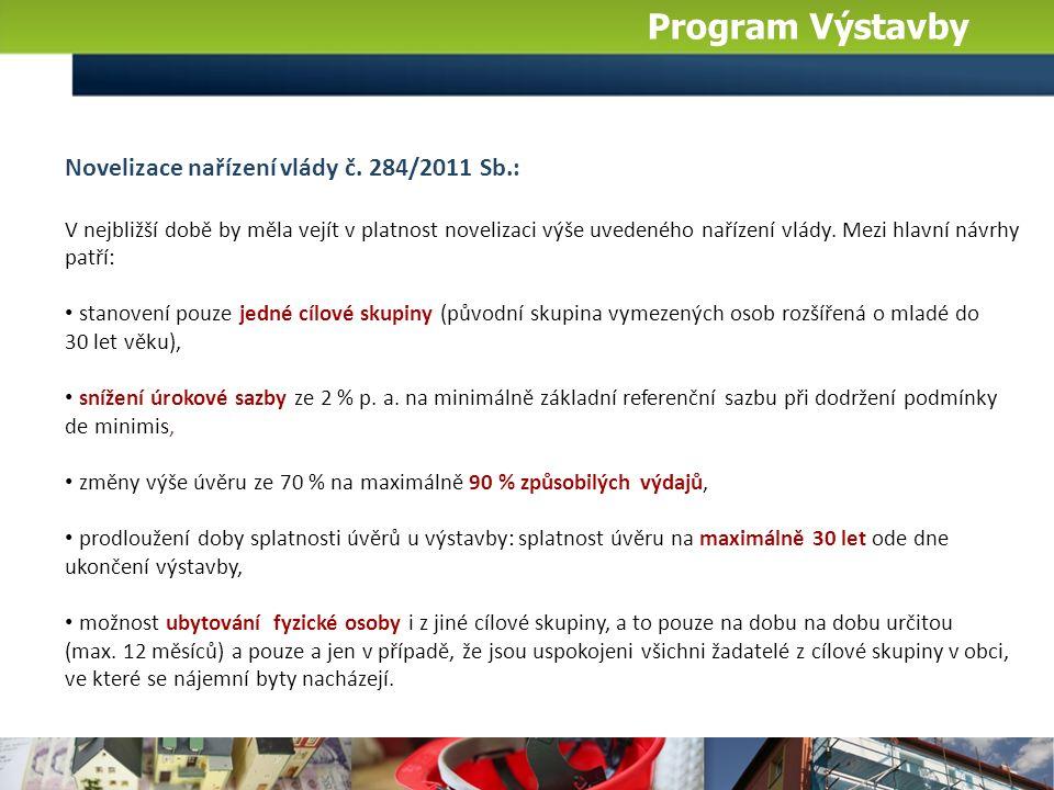 Program Výstavby Novelizace nařízení vlády č. 284/2011 Sb.: V nejbližší době by měla vejít v platnost novelizaci výše uvedeného nařízení vlády. Mezi h