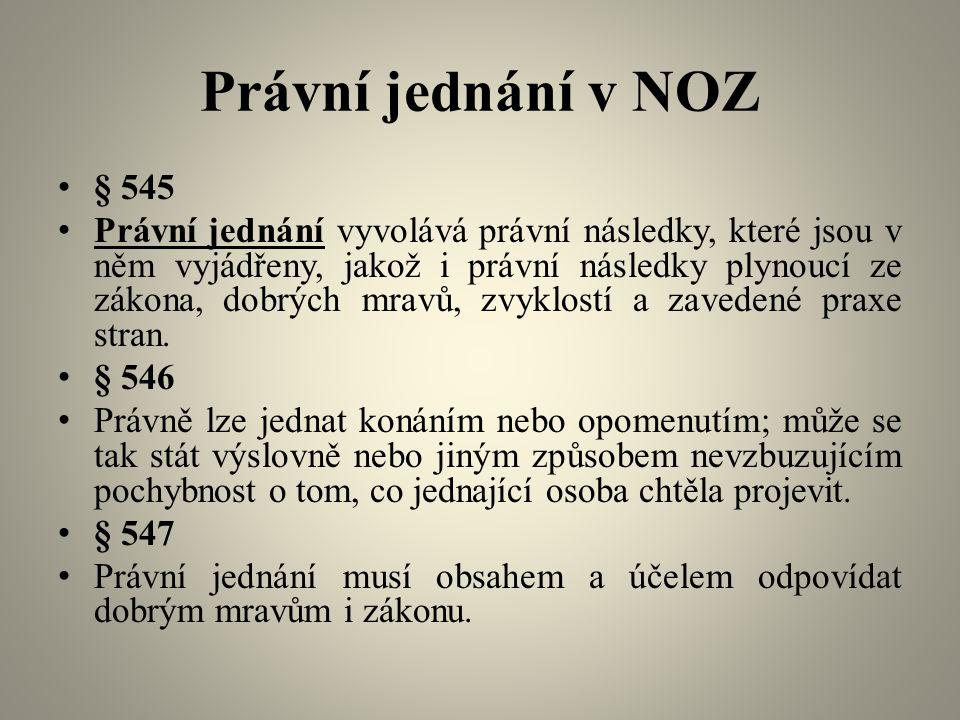 Právní jednání v NOZ § 545 Právní jednání vyvolává právní následky, které jsou v něm vyjádřeny, jakož i právní následky plynoucí ze zákona, dobrých mravů, zvyklostí a zavedené praxe stran.