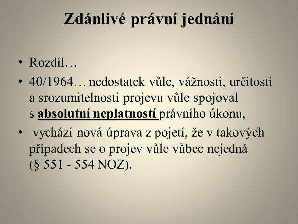 Zdánlivé právní jednání Rozdíl… 40/1964… nedostatek vůle, vážnosti, určitosti a srozumitelnosti projevu vůle spojoval s absolutní neplatností právního úkonu, vychází nová úprava z pojetí, že v takových případech se o projev vůle vůbec nejedná (§ 551 - 554 NOZ).