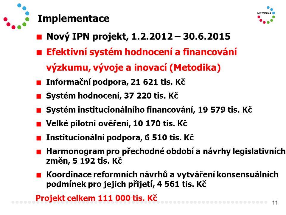 11 Implementace Nový IPN projekt, 1.2.2012 – 30.6.2015 Efektivní systém hodnocení a financování výzkumu, vývoje a inovací (Metodika) Informační podpora, 21 621 tis.