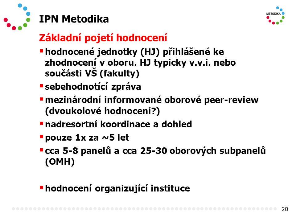 20 IPN Metodika Základní pojetí hodnocení  hodnocené jednotky (HJ) přihlášené ke zhodnocení v oboru. HJ typicky v.v.i. nebo součásti VŠ (fakulty)  s