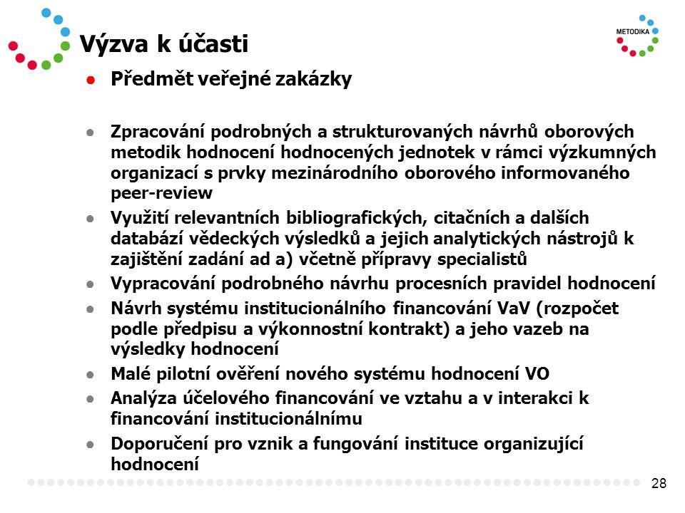 28 Výzva k účasti ● Předmět veřejné zakázky ● Zpracování podrobných a strukturovaných návrhů oborových metodik hodnocení hodnocených jednotek v rámci
