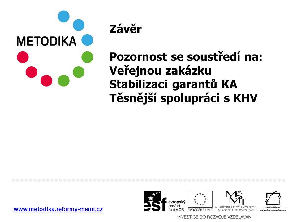 www.metodika.reformy-msmt.cz Závěr Pozornost se soustředí na: Veřejnou zakázku Stabilizaci garantů KA Těsnější spolupráci s KHV
