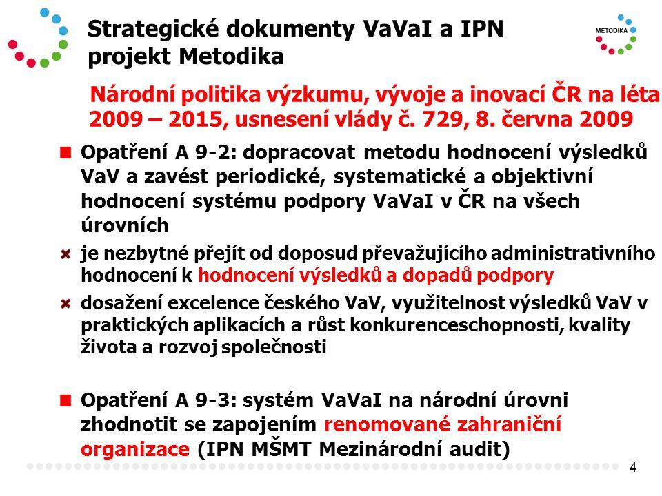 4 Strategické dokumenty VaVaI a IPN projekt Metodika Národní politika výzkumu, vývoje a inovací ČR na léta 2009 – 2015, usnesení vlády č. 729, 8. červ