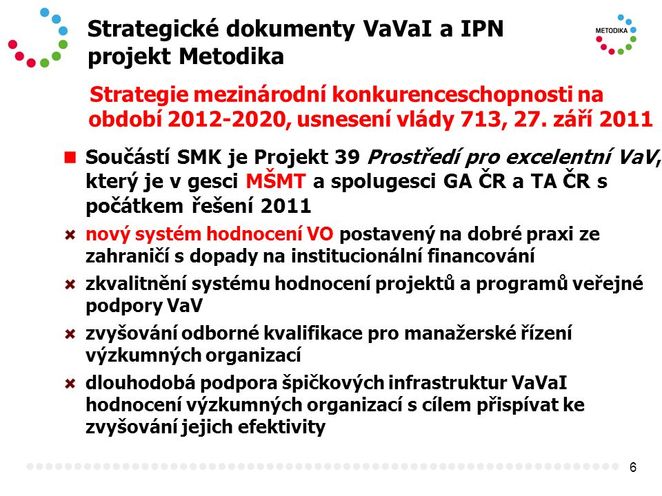 6 Strategické dokumenty VaVaI a IPN projekt Metodika Strategie mezinárodní konkurenceschopnosti na období 2012-2020, usnesení vlády 713, 27. září 2011