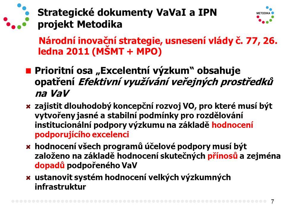 """7 Strategické dokumenty VaVaI a IPN projekt Metodika Národní inovační strategie, usnesení vlády č. 77, 26. ledna 2011 (MŠMT + MPO) Prioritní osa """"Exce"""
