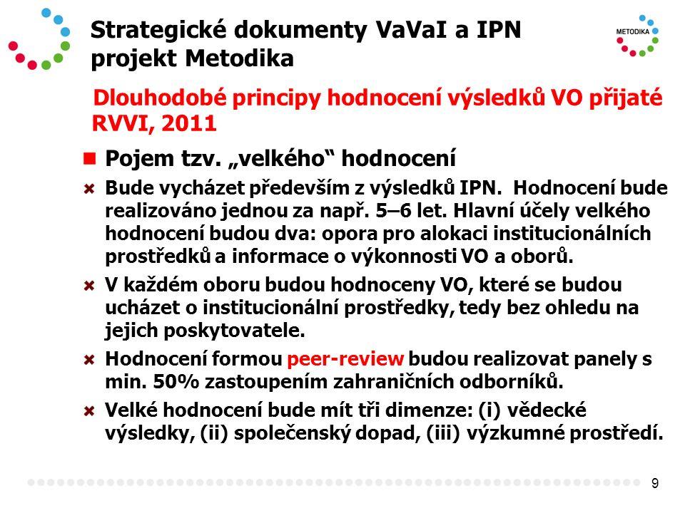 """9 Strategické dokumenty VaVaI a IPN projekt Metodika Dlouhodobé principy hodnocení výsledků VO přijaté RVVI, 2011 Pojem tzv. """"velkého"""" hodnocení Bude"""