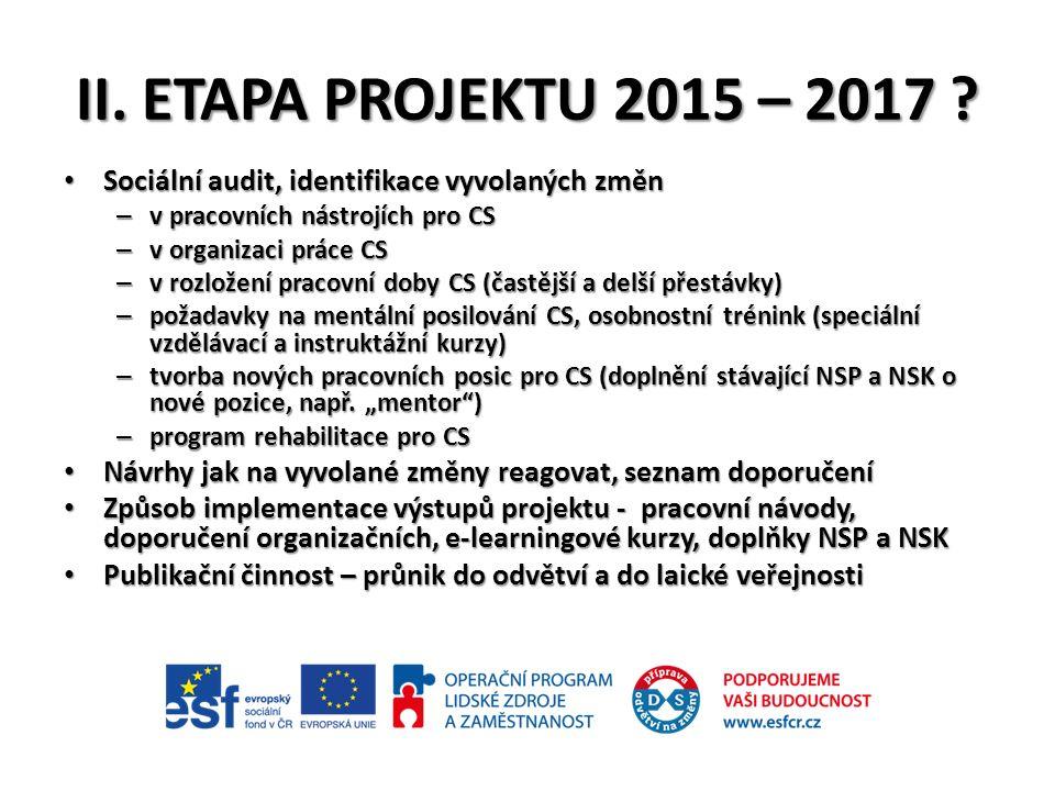 II. ETAPA PROJEKTU 2015 – 2017 .