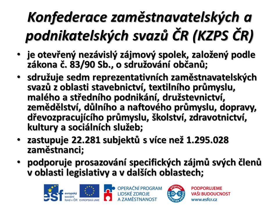 Konfederace zaměstnavatelských a podnikatelských svazů ČR (KZPS ČR) je otevřený nezávislý zájmový spolek, založený podle zákona č.