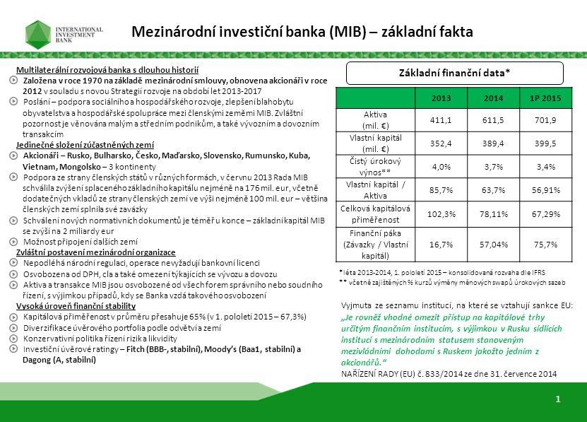 Základní finanční data* Multilaterální rozvojová banka s dlouhou historií Založena v roce 1970 na základě mezinárodní smlouvy, obnovena akcionáři v ro