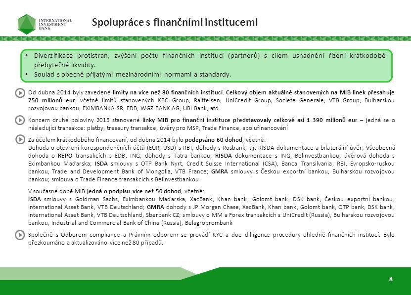 9 Diverzifikace protistran, zvýšení počtu finančních institucí (partnerů) s cílem usnadnění řízení krátkodobé přebytečné likvidity. Soulad s obecně př