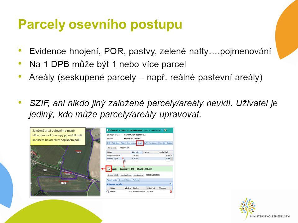Parcely osevního postupu Evidence hnojení, POR, pastvy, zelené nafty….pojmenování Na 1 DPB může být 1 nebo více parcel Areály (seskupené parcely – např.