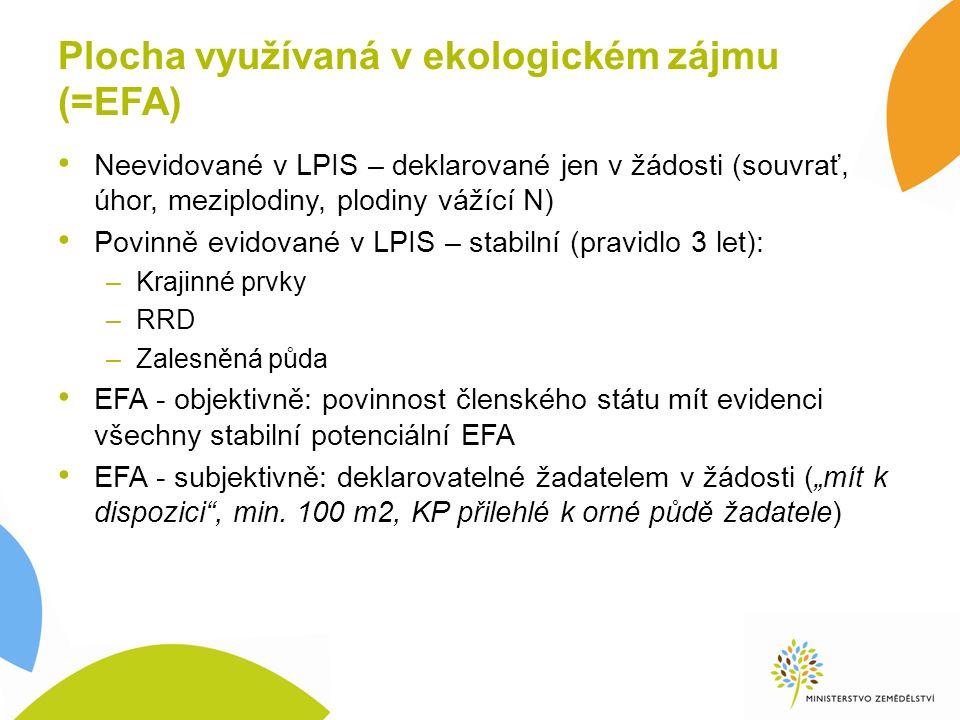 """Plocha využívaná v ekologickém zájmu (=EFA) Neevidované v LPIS – deklarované jen v žádosti (souvrať, úhor, meziplodiny, plodiny vážící N) Povinně evidované v LPIS – stabilní (pravidlo 3 let): –Krajinné prvky –RRD –Zalesněná půda EFA - objektivně: povinnost členského státu mít evidenci všechny stabilní potenciální EFA EFA - subjektivně: deklarovatelné žadatelem v žádosti (""""mít k dispozici , min."""