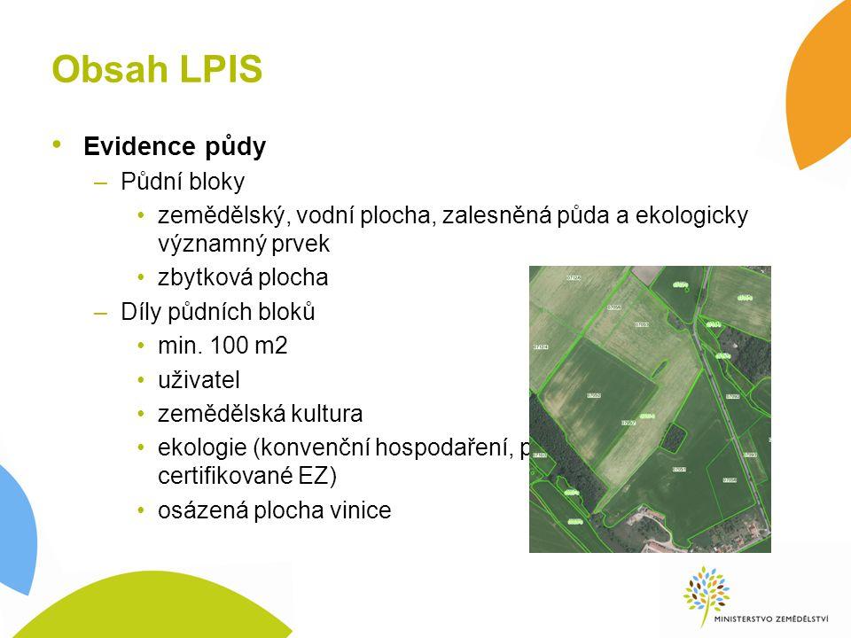 Obsah LPIS Evidence půdy –Půdní bloky zemědělský, vodní plocha, zalesněná půda a ekologicky významný prvek zbytková plocha –Díly půdních bloků min.