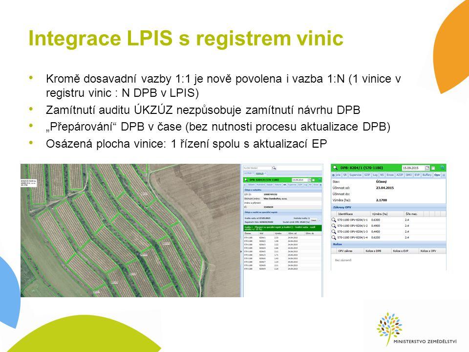 """Integrace LPIS s registrem vinic Kromě dosavadní vazby 1:1 je nově povolena i vazba 1:N (1 vinice v registru vinic : N DPB v LPIS) Zamítnutí auditu ÚKZÚZ nezpůsobuje zamítnutí návrhu DPB """"Přepárování DPB v čase (bez nutnosti procesu aktualizace DPB) Osázená plocha vinice: 1 řízení spolu s aktualizací EP"""