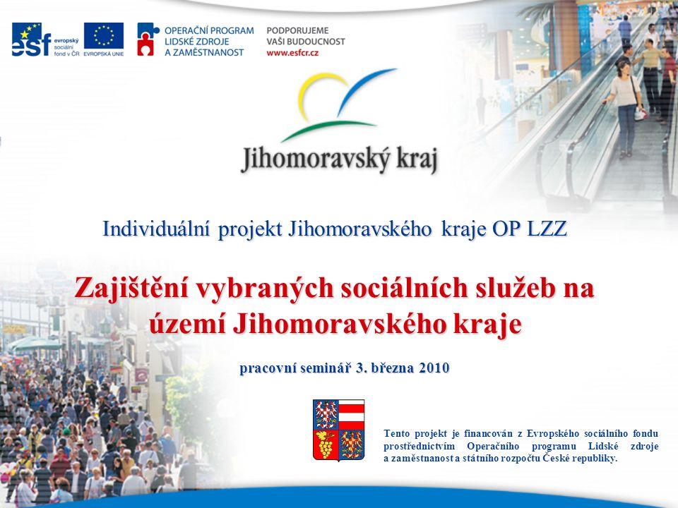 Individuální projekt Jihomoravského kraje OP LZZ Zajištění vybraných sociálních služeb na území Jihomoravského kraje pracovní seminář 3. března 2010 T