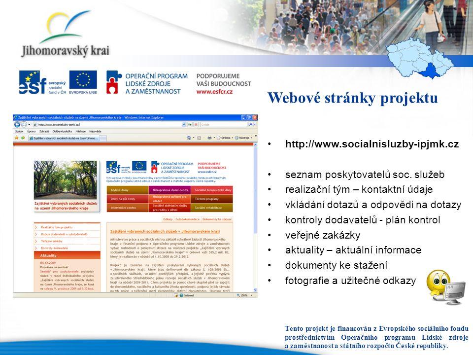 Webové stránky projektu http://www.socialnisluzby-ipjmk.cz seznam poskytovatelů soc. služeb realizační tým – kontaktní údaje vkládání dotazů a odpověd