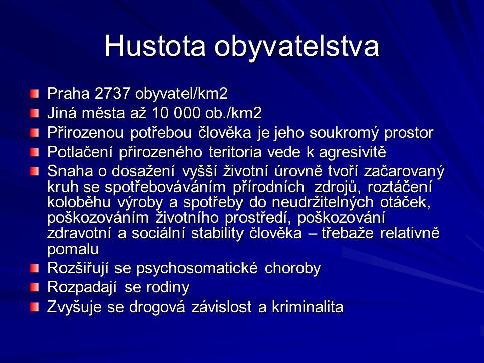 Hustota obyvatelstva Praha 2737 obyvatel/km2 Jiná města až 10 000 ob./km2 Přirozenou potřebou člověka je jeho soukromý prostor Potlačení přirozeného t