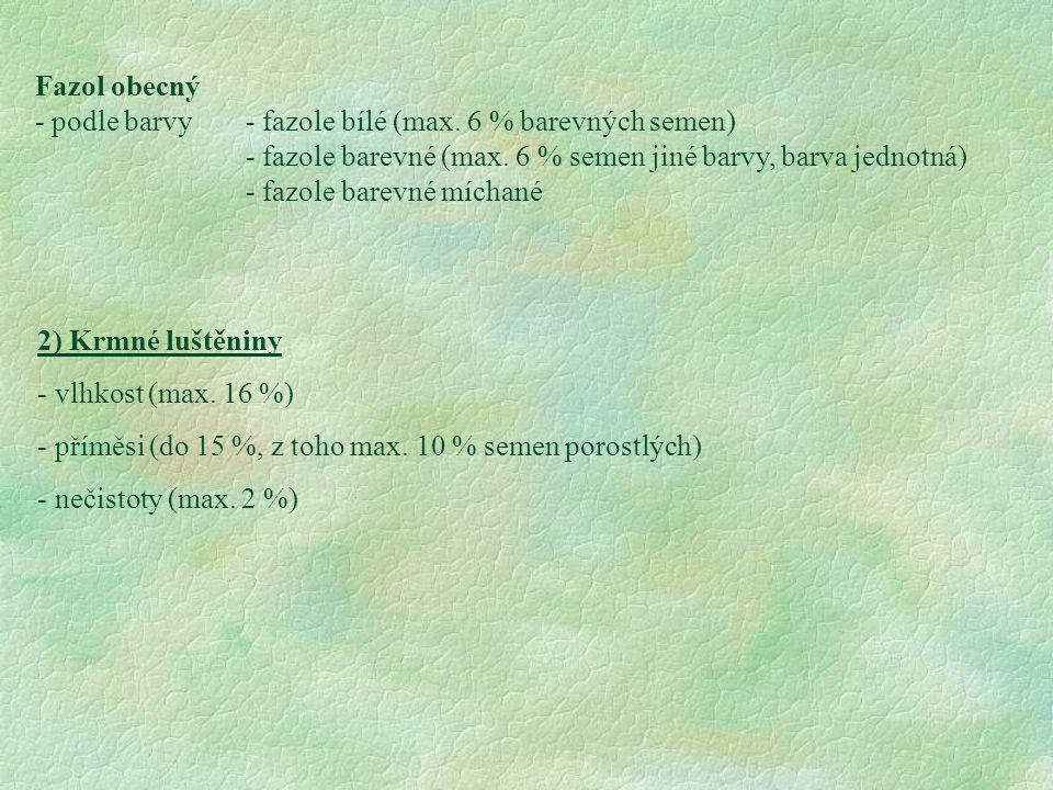 Fazol obecný - podle barvy- fazole bílé (max. 6 % barevných semen) - fazole barevné (max. 6 % semen jiné barvy, barva jednotná) - fazole barevné mícha