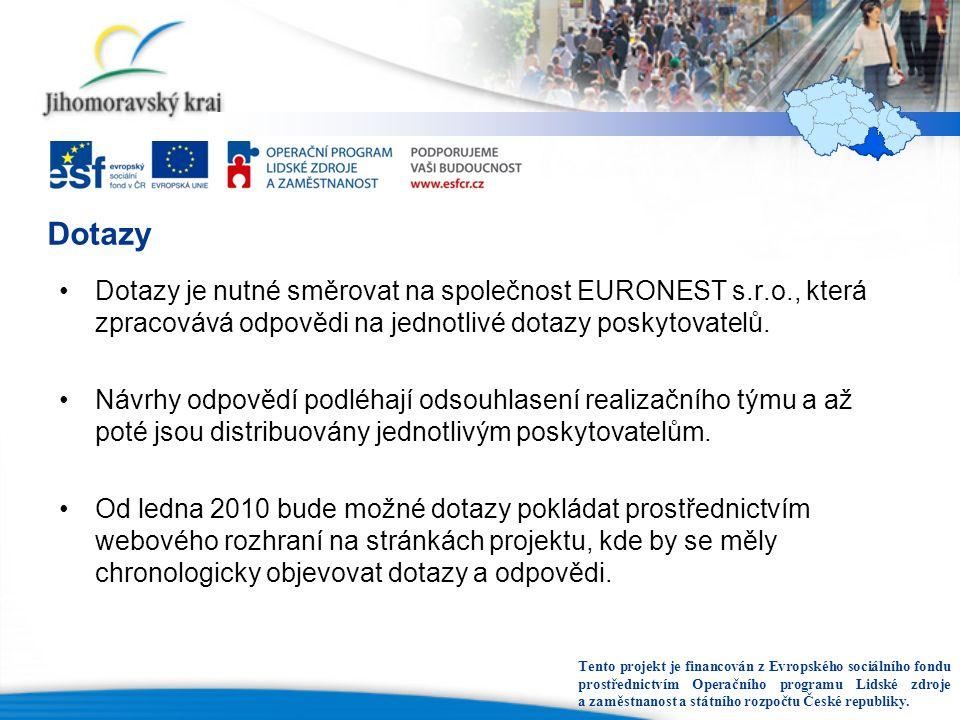 Dotazy Dotazy je nutné směrovat na společnost EURONEST s.r.o., která zpracovává odpovědi na jednotlivé dotazy poskytovatelů.