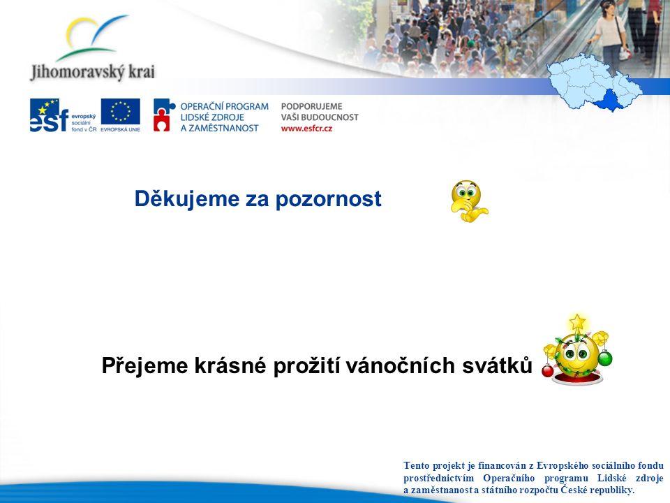 Děkujeme za pozornost Přejeme krásné prožití vánočních svátků Tento projekt je financován z Evropského sociálního fondu prostřednictvím Operačního programu Lidské zdroje a zaměstnanost a státního rozpočtu České republiky.