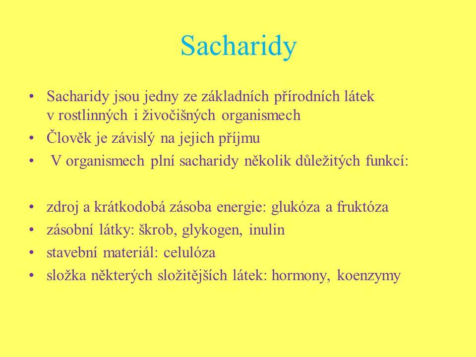 Sacharidy Sacharidy jsou jedny ze základních přírodních látek v rostlinných i živočišných organismech Člověk je závislý na jejich příjmu V organismech