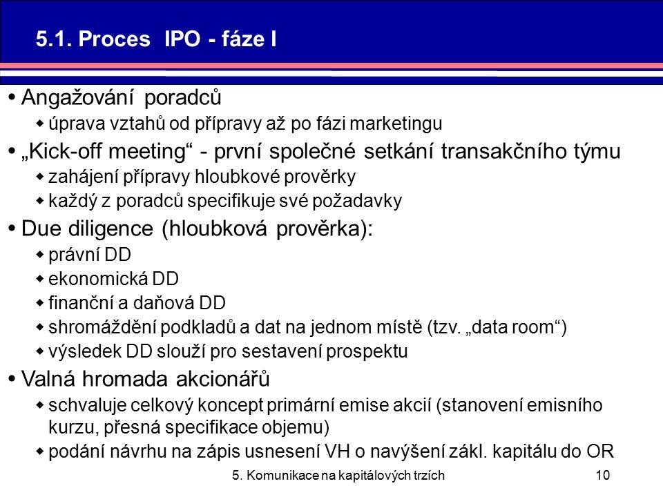 5. Komunikace na kapitálových trzích10 5.1.