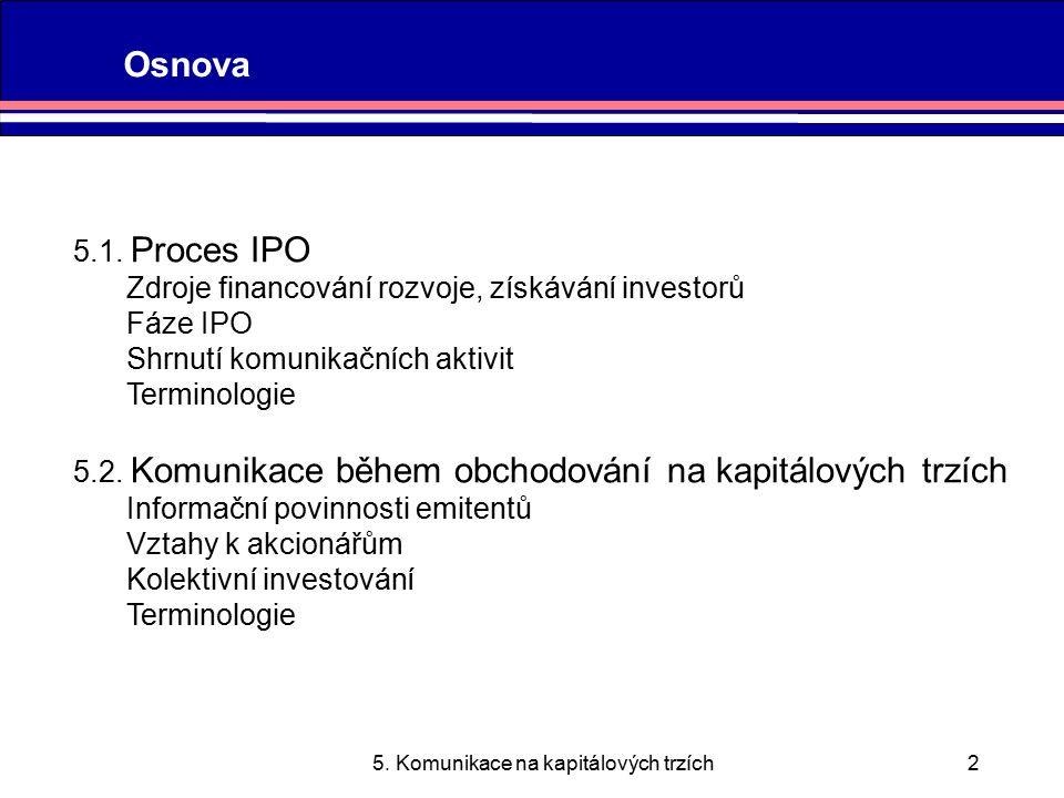 5. Komunikace na kapitálových trzích2 Osnova 5.1.