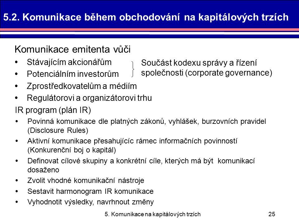 5. Komunikace na kapitálových trzích25 5.2.