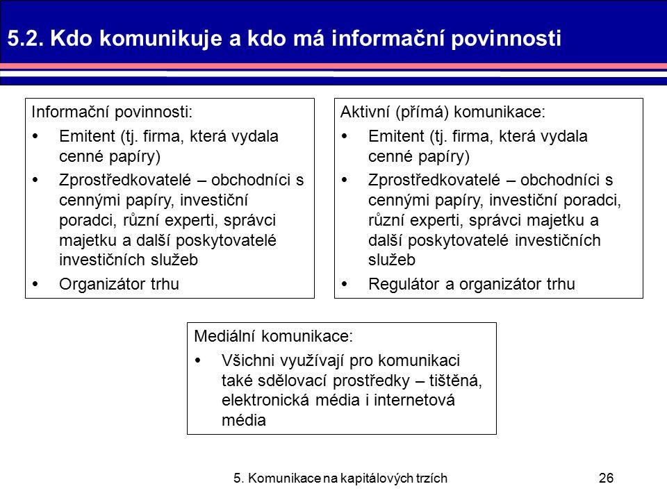 5. Komunikace na kapitálových trzích26 5.2.