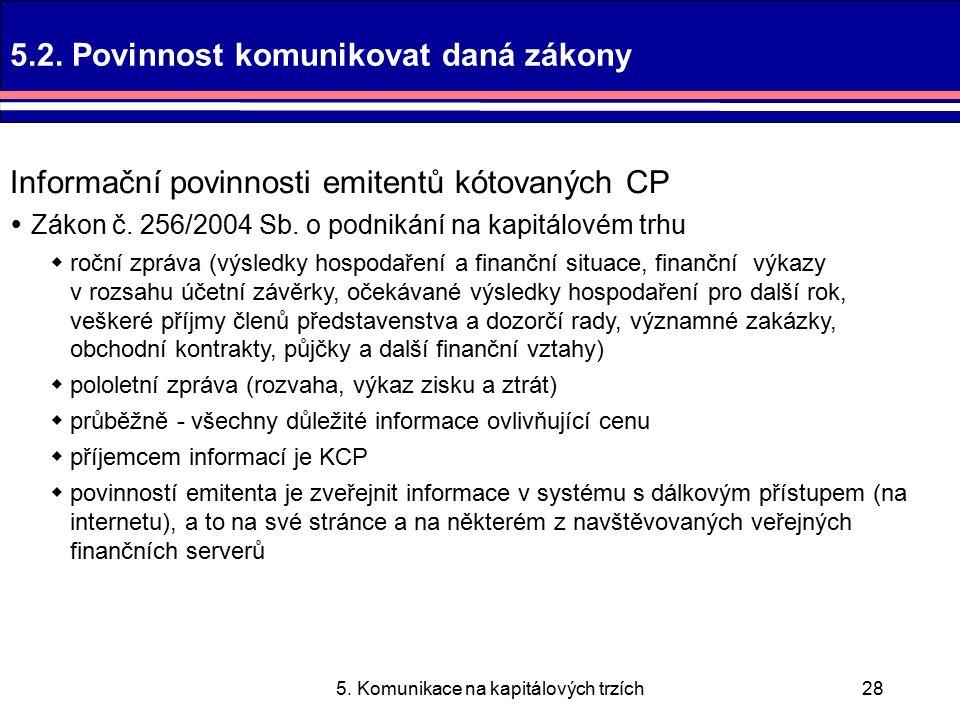 5. Komunikace na kapitálových trzích28 5.2.