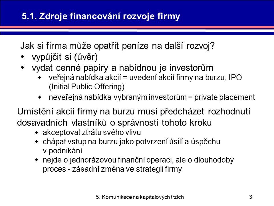 5.Komunikace na kapitálových trzích4 Je nutno přesvědčit investory.