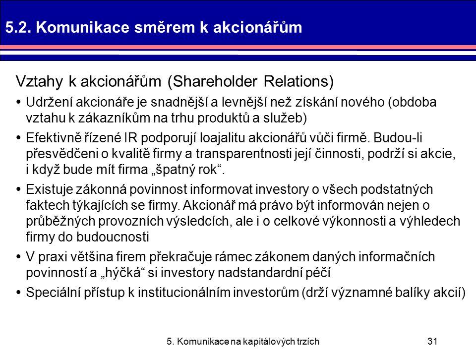 5. Komunikace na kapitálových trzích31 5.2.