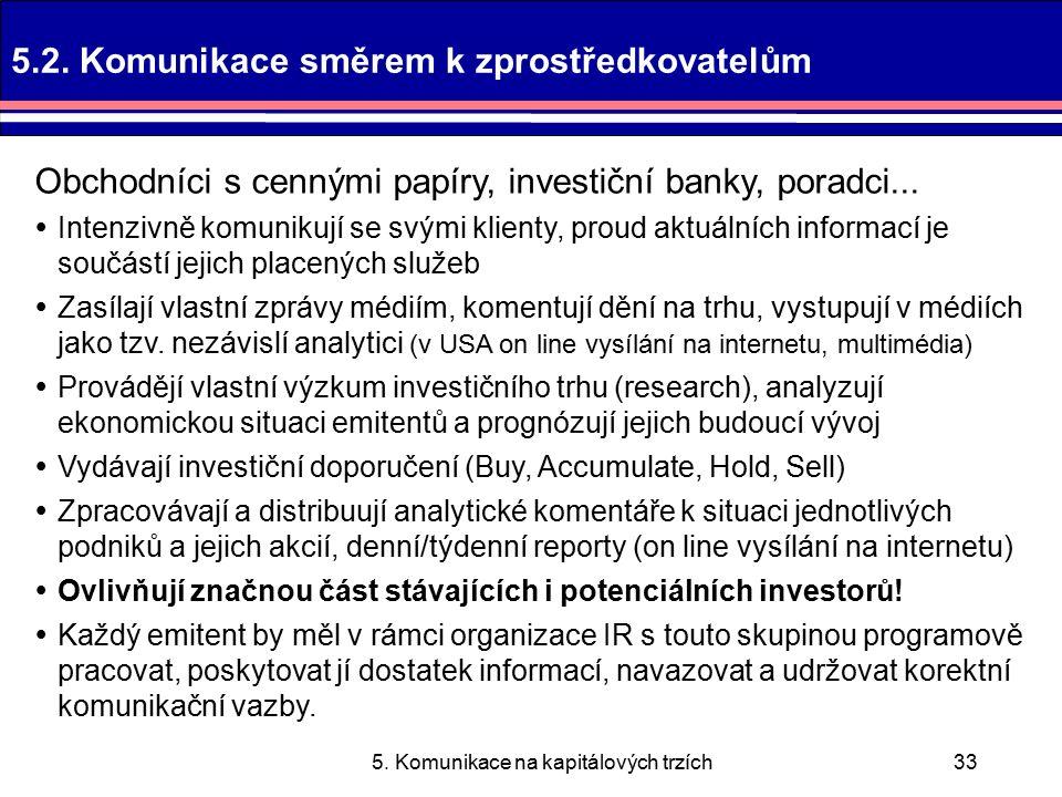 5. Komunikace na kapitálových trzích33 5.2.
