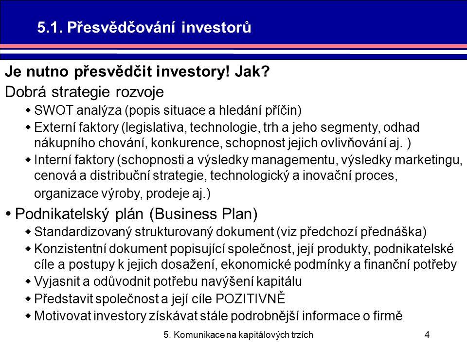 5. Komunikace na kapitálových trzích4 Je nutno přesvědčit investory.