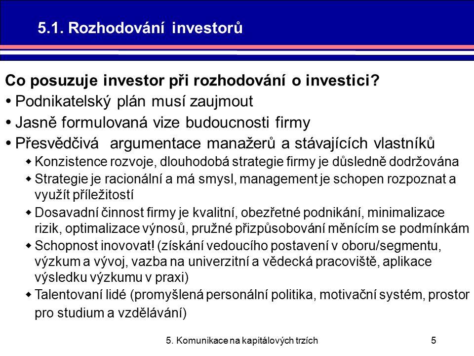 5. Komunikace na kapitálových trzích5 Co posuzuje investor při rozhodování o investici.