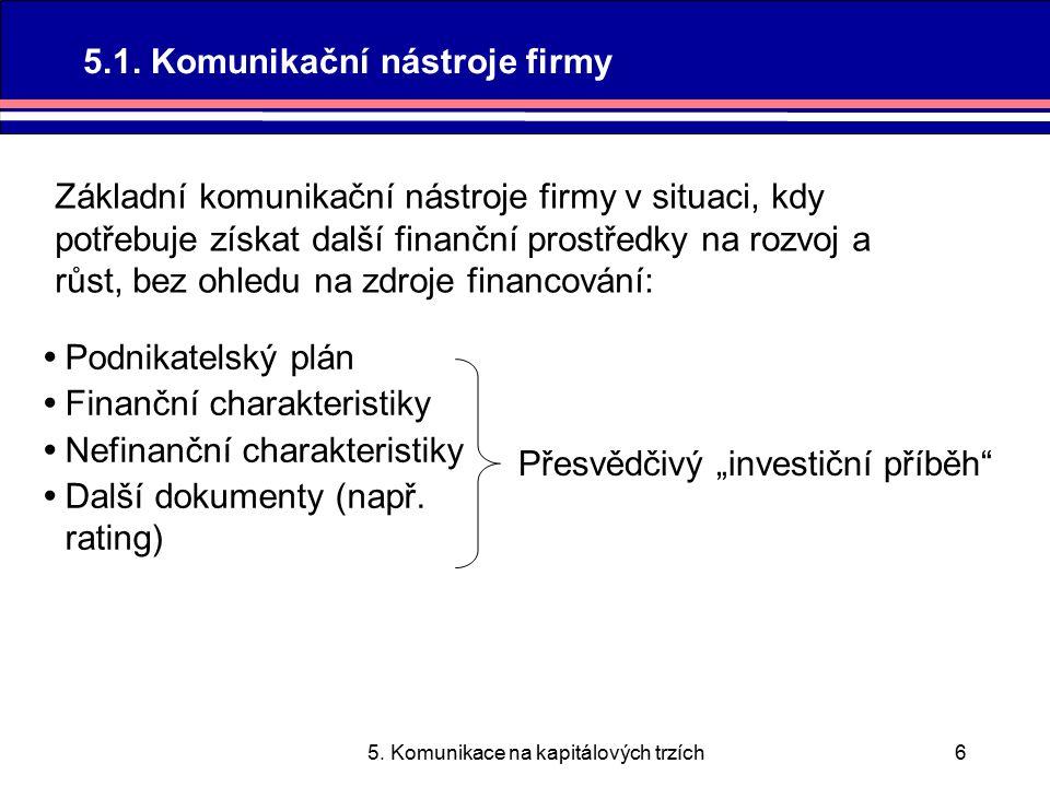 5.Komunikace na kapitálových trzích7 5.1.