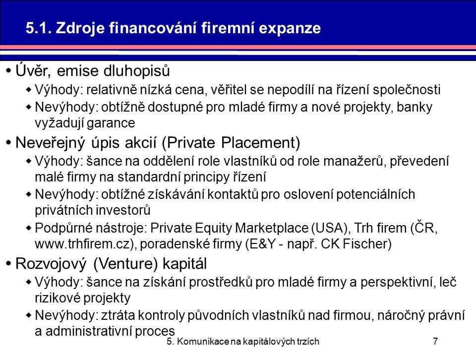 5.Komunikace na kapitálových trzích28 5.2.