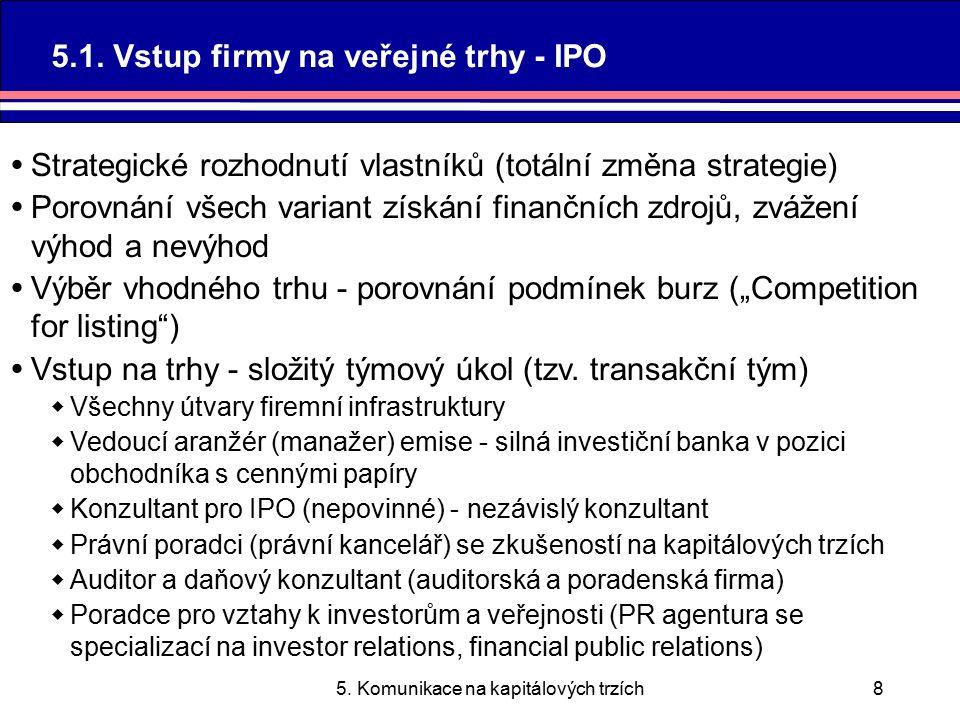 5.Komunikace na kapitálových trzích9 5.1.