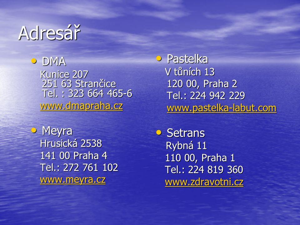 Adresář DMA DMA Kunice 207 251 63 Strančice Tel. : 323 664 465-6 Kunice 207 251 63 Strančice Tel.