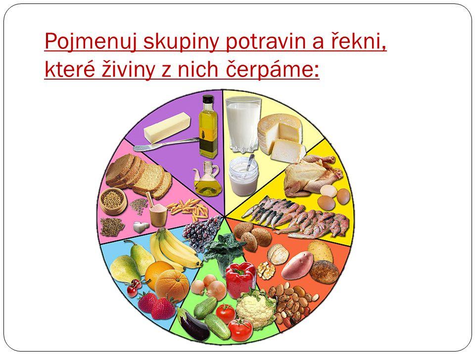 Pojmenuj skupiny potravin a řekni, které živiny z nich čerpáme: